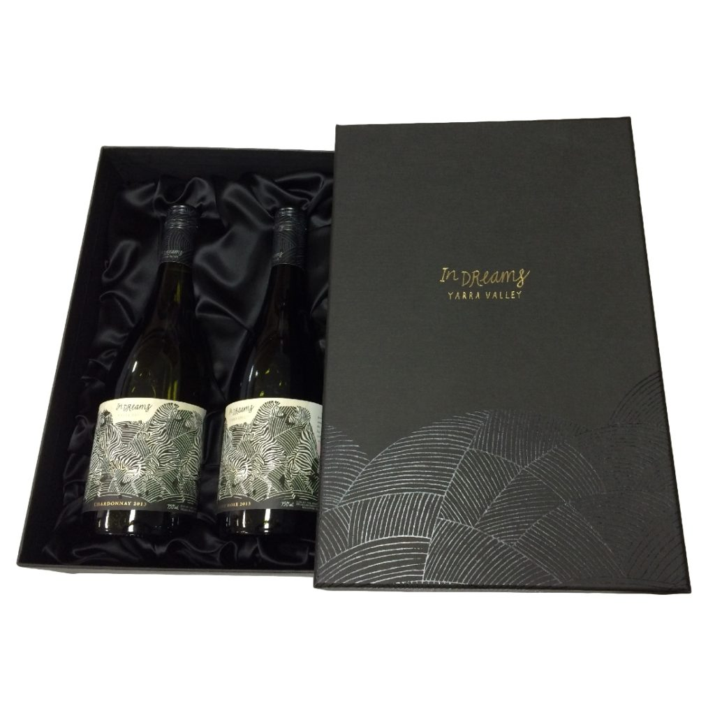 Wine Gift Box - 2 Bottles - Box & Lid - with Silk Insert