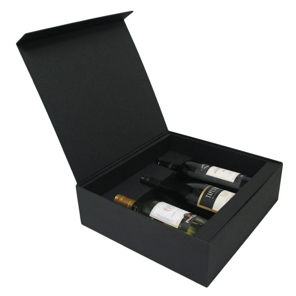 Wine Hinged 3 Bottle Box & Insert