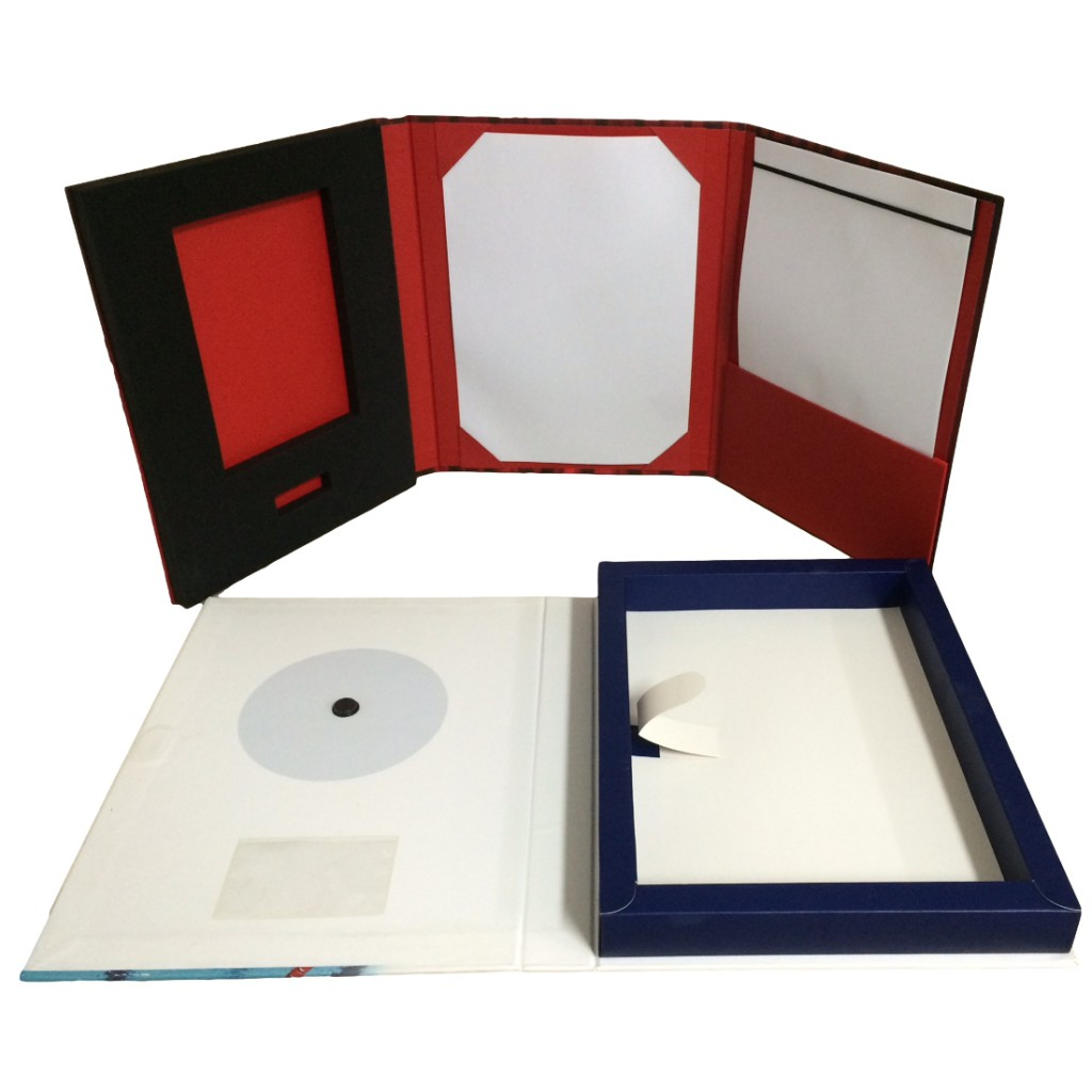 Presentation folders with book and CD inserts