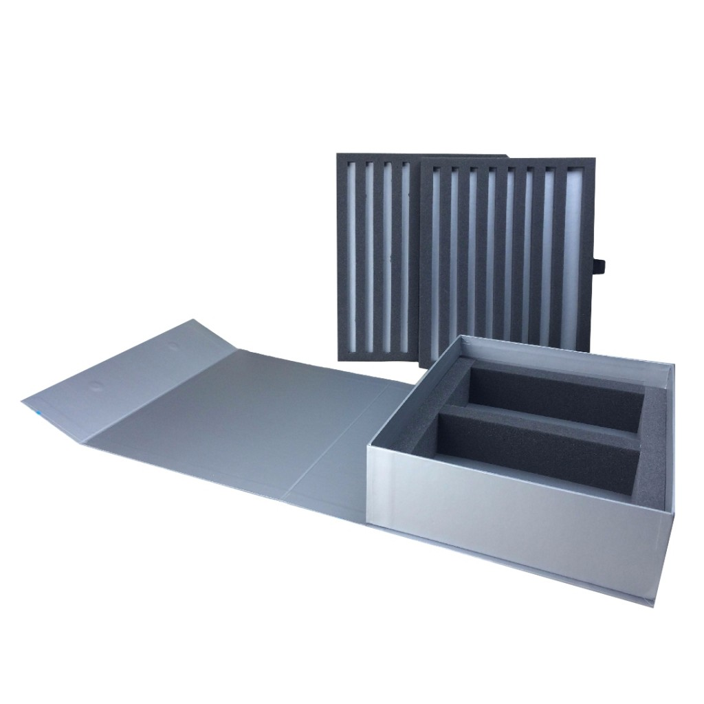 Product Samples Display Box - open - with foam inserts (Code DP-151)