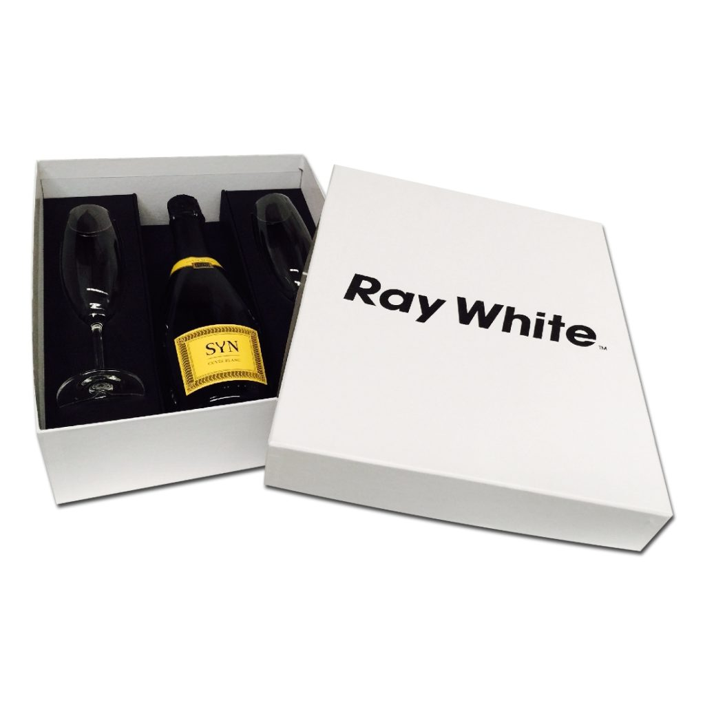 Customised Gift Box for One Wine Bottle with Two Glasses
